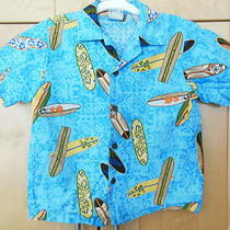 Nui Nalu Boy's Aqua Blue W/ Surfboards Cotton Hawaiian Surf Shirt Size 7 Photo