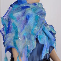 Nuno Felt Scarf Silk and Wool Scarf Mother's Day Gift Blue Nuno Scarfooak Scarf Photo