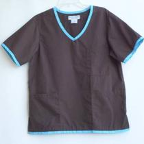 Nursing Scrubs Uniforms Nurse Scrub Brown and Aqua Top Sz S Natural Uniforms  Photo