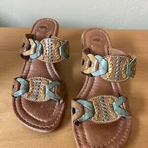 Nurture Wedge Sandals Excellent Condition Brown/teal & Yellow Accents Size 7 Photo