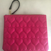 Nw Betsey Johnson Quilt Make Up Cosmetic Bag Clutch Wristlet Hot Pink  Photo