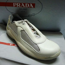 Nw Prada Shoes Sneakers America Cup Silver Size Us  7 / 7.5 Pr3163 Photo