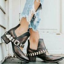 Nwb 245 Sz 8 Freebird by Steven Blade Black / Brown Ankle Booties Shoe Photo
