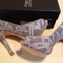 Nwb Badgley Mischka Roxie Womens Size 6 Gray Textile Pumps Heels Shoes/display Photo