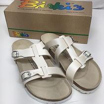 Nwb Birkenstock Birkis Nias 'Mother of Pearl' White Sandals Sz 40 - Us 9 Photo