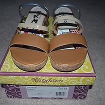 Nwb Brighton Harper Leather Wedge Sandals Honey Size 9.5m Photo
