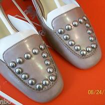 Nwb Coach Rivet Sling Chunky Heel 6m Q7154 Light Pearl Photo
