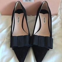 Nwb Miu Miu Prada Black Suede Kitten Heel Bow Audrey Hepburn Shoes 39 / 9 Photo