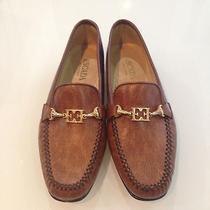 Nwb Never Worn Designer Vintage Escada Brown Leather Moccasins Shoes. Photo
