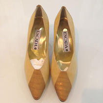 Nwb Never Worn Designer Vintage Escada Croc Embossed Satin/suede Shoes Pumps. Photo