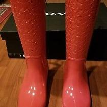 Nwb New Womens Coach 7b Tall Signature Rain Boots Size Red Msrp195 Photo