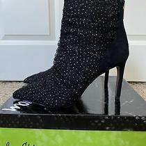 Nwb Womens Sam Edelman Farren Sparkle Tulle Black Pointed Bootie Size 8.5 Photo