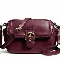 Nwd  258 Coach 'Campbell' Leather Camera Bag Crossbody F25150 25150 Bordeaux Photo