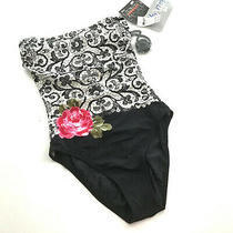 Nwd Diva by Rachel Pappo Halter Swimsuit One Piece Size 10 Black Floral Rose Photo