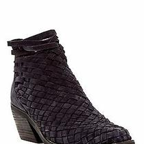 Nwd Jeffrey Campbell Surat Woven Ankle Boot in Navy Blue Oiled Suede-Size 7 Photo