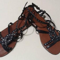 Nwob Aldo Black Leather Silver Studded Sandals Size 7 Photo