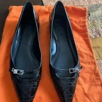 Nwob Christian Dior 39/9.5 Pointy Toe Ballet Flats Black Leather Made in Italy Photo
