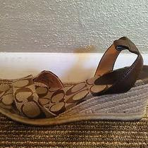 Nwob Coach Women's Sandal Ankle Strap Wedge Signature 7.5 Brown New Photo