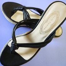 Nwob Elie Tahari 'Tess' Wedge Heel Slide Sandals Shoes Black Size Us/7 or Eu/37  Photo