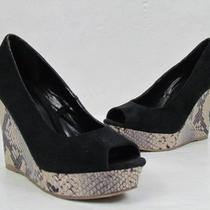 Nwob Express Black Suede Open Toe Snake Print Wedges Sz. 7 Photo
