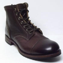 Nwob Frye Mens Logan Cap Toe Leather Lace-Up Boots Dark Brown Sz 11 M Reg 398 Photo