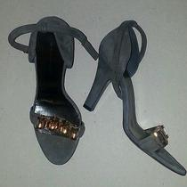 Nwob Gray Suede Gold Metal Strappy Sandals Heels Balenciaga Htf Rare 36.5 Us 6.5 Photo
