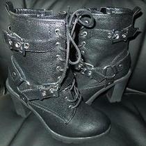 Nwob Guess Black Side Zipper Lace Up Biker Boots Size 7m-Sussex Photo