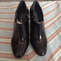 Nwob Jeffrey Campbell Black Painted Leather Shoes With Side Zips Size 7 Photo