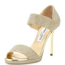 Nwob Jimmy Choo Alana Glitter Double-Band Sandal Gold Sz 38.5 Sold Out 795 Photo