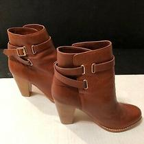 Nwob Joie Fabulous Brown Leather  Stappy  Stacked Heel Boot Size 38 355.00w Photo
