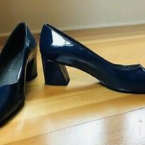 Nwob New Stuart Weitzman Navy Patent Leather Block Heels 6.5 Made Spain Ret 395 Photo