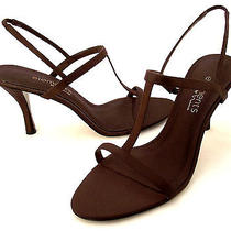 Nwob  Nina Elements Brown Satin Fabric T-Strap Open Toe Dress Heel-Size 10m Photo