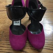 Nwob Nine West Fuschia Suede Black Patent Strap Heels Size 8 Pink Cuff Ankle Hot Photo