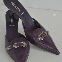 Nwob Prada Purple Leather Mules Heels Size 36.5 Us 6 6.5 Photo
