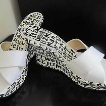 Nwob Stuart Weitzman White/black Graffiti Print Wedges Sandals Shoes -- Size 10 Photo