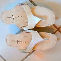 Nwob Vince Camuto White Patent Leather Wedge Thongs 5.5 B Photo