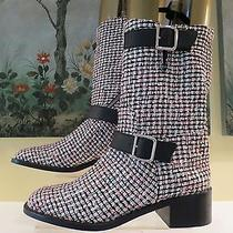 Nwob Womens Authentic Chanel Pink & Black Fabric Leather Boots Size 40/10 Photo