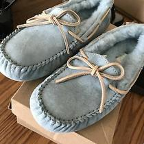 Nwob Womens Size 7 Blue Ugg Dakota 5612 Suede Sheepskin Moccasins Slippers Photo