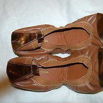 Nwob Yosi Samra Brown Leather With Gold Cap Toe Ballet Flats Shoes Size 8 Photo
