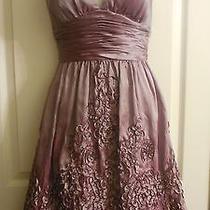Nwot 178  Adrianna Papell Rosette Taffeta Halter Purple  Dress 6  Photo