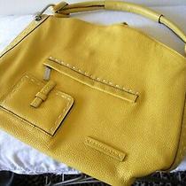 Nwot 328 Bcbgmaxazria Logo Yellow Pebbled Leather Hobo Purse Handbag Satchel  Photo