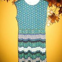 Nwot A253051 Isaac Mizrahi Live Mixed Print Cap Sleeve Knit Dress L Blue Photo