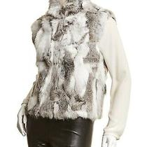 Nwot Adrienne Landau 785 100% Authentic Rabbit Fur White Browns Grey Vest M Photo