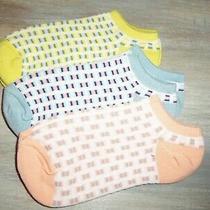 Nwot Aeropostale 3  Pair Bl/pk/ywl Print No Show Socks Size 9-11 Photo