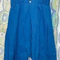 Nwot Aeropostale Blue & White Embroidered Floral Dress Women's Xl Adjustable Photo