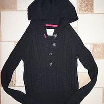 Nwot Aeropostale Hooded Black Button Pocket Cable Sweater - Sz Small Photo