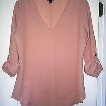 Nwot Ann Taylor v-Neck Blouse Top Roll Sleeve Pink Blush Rose Size Small Photo