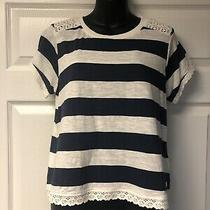 Nwot Anthropologie Anti Blue Womens Rugby Wide Stripe Lace Tee Shirt Top Size M Photo