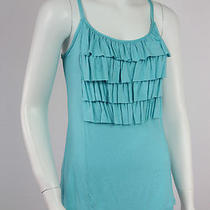 Nwot  Anthropologie  Weston Wear  Aqua Blue Ruffle Trim Tank  Large Photo