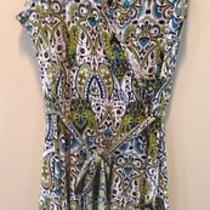 Nwot Apt 9 Paisley Aqua and Teal Sleeveless Dress Size L Photo